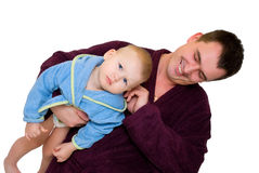 Father and son dressing gown Royalty Free Stock Photo