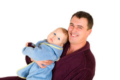 Father and son dressing gown Royalty Free Stock Photography