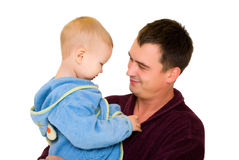 Father and son dressing gown Stock Photo