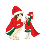 Father and Son Dressing to be Santa. Christmas Day. Santa Hat. Vector Illustration. Stock Photography