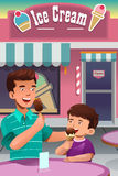 Father and son eating ice cream. A vector illustration of father and son eating ice cream in front of an ice cream store Royalty Free Stock Photo