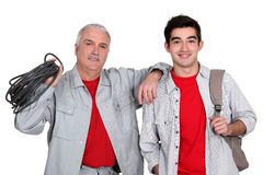 Father and son electricians Stock Images
