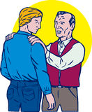 Father and son embrace stock illustration