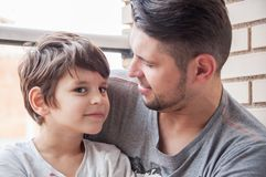Father and son emotional support and manifestation of love, supp royalty free stock photos