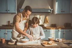 Father and son enjoying cooking of sweets. Delighted men and boy standing at the kitchen desk and adding egg to the baking powder together Stock Photo