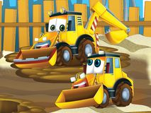 Father and son excavators - illustration for the children stock illustration