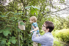 Father and son exploring nature Stock Images