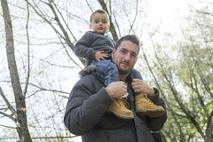 Father and son fall Royalty Free Stock Photo