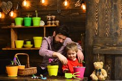 Father and son. Family day. Greenhouse. happy gardeners with spring flowers. Flower care watering. Soil fertilizers. Bearded men and little boy child love royalty free stock photography