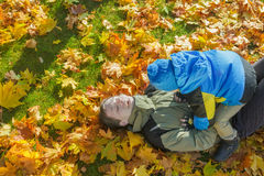 Father and son family playful fighting aerial portrait at yellow and orange autumn fallen leaves groundcover. Father and son  playful fighting aerial portrait at Stock Photography