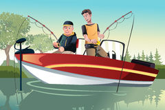 Father and son fishing. A vector illustration of a senior father and his adult son going fishing on a boat Stock Images