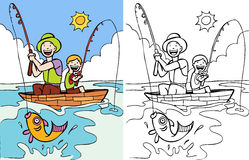 Father and Son Fishing. Cartoon image of father and son fishing together - color and black/white versions