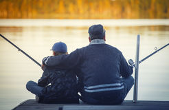 Father with son fishing Stock Photo
