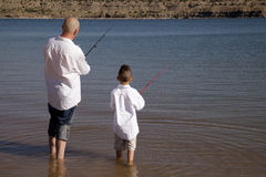 Father son fishing back Stock Photos