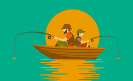 Father and son fishing on boat. On a lake Stock Photos