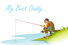 Father and Son fishing. Easy to edit vector illustration of father and son fishing on Father's Day Stock Image