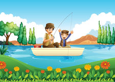 A father and son fishing Stock Photos