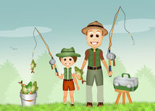 Father and son fishing Royalty Free Stock Images