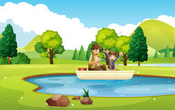 Father and son fishing in the pond. Illustration Stock Images