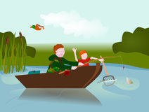 Father & Son fishing Stock Photography