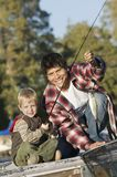 Father And Son Fishing Together Stock Images