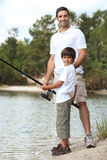 Father and son fishing. Trip Stock Photos