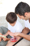 Father and son fishing. Father and son on a fishing trip Royalty Free Stock Photos