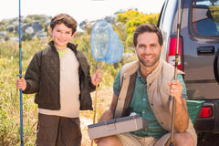 Father and son on a fishing trip Stock Image