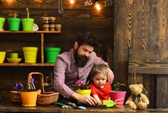 Father and son. Flower care watering. Soil fertilizers. bearded man and little boy child love nature. happy gardeners. Father and son. Flower care watering. Soil royalty free stock image