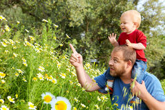 Father and son in flowers Stock Image