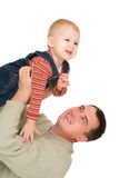 Father and  son fly together Stock Image