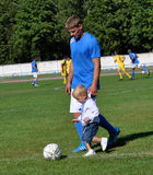Father and son with football myachem Stock Images