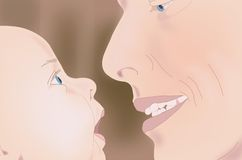 Father son gaze. Illustration of a father and son sharing a gaze Royalty Free Stock Images