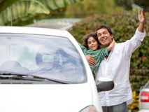 Father and son getting into ther car Royalty Free Stock Images