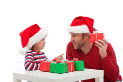 Father and son with gift boxes Royalty Free Stock Image