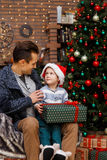 Father and son with gifts Stock Image