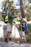 Father and son giving high five while hiking in forest Stock Photos
