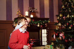 Father and son giving presents on Christmas Royalty Free Stock Photography