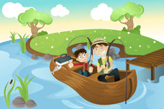 Father and son going fishing. A  illustration of a father and a son going fishing in the lake Royalty Free Stock Photos