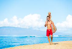 Father and Son Going Surfing Royalty Free Stock Photography