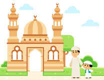 Father and son going to the Mosque stock illustration