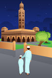 Father and Son Going to Mosque royalty free illustration