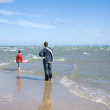 Father and son at Grenen Royalty Free Stock Images