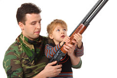 Father and son with gun Stock Photography
