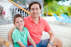 Father and son at hammock Royalty Free Stock Photos