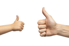 Father and son hands giving like on white background Stock Photo