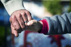 Father and Son Hands Holding Moment Royalty Free Stock Photos