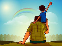 Father and son for Happy Fathers Day celebration. royalty free illustration