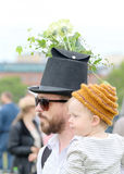 Father and son at the hat parade Royalty Free Stock Photo