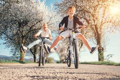 Father and son have a fun when riding bicycles on country road with blossom trees royalty free stock images